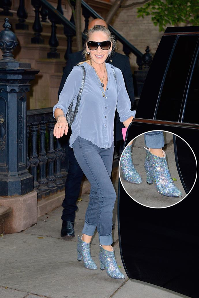 Sarah Jessica Parker just stepped out of her home in New York City wearing a pair of glittery and *very* Carrie Bradshaw ankle boots.