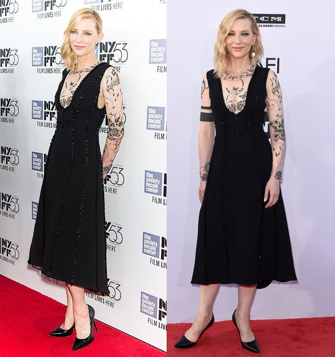 Cate Blanchett at the New York Film Festival in 2015, and at the American Film Institute's Award Gala in 2018.
