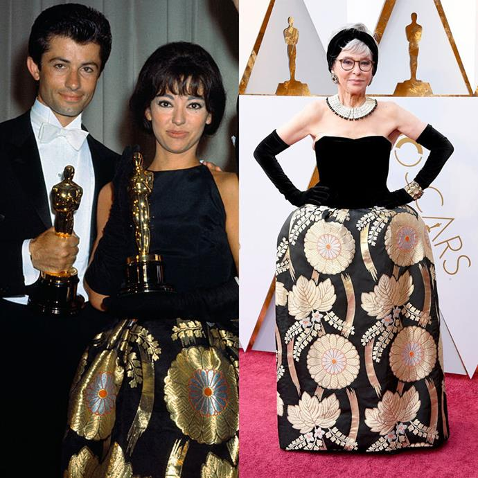 Rita Moreno at the Oscars in 1962, at the Oscars in 2018.