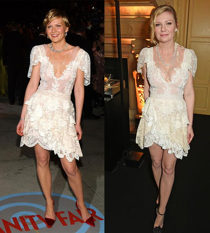Kirsten Dunst at the Vanity Fair Oscars Party 2004, and at a Chopard Party in 2017.
