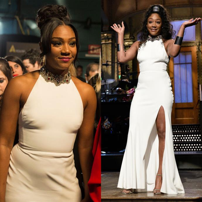 Tiffany Haddish at the Oscars in 2018, and on *Saturday Night Live* in 2017.