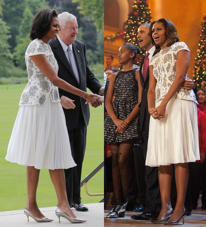 Michelle Obama meeting the Queen in 2013, and during a Christmas In Washington special in 2013.