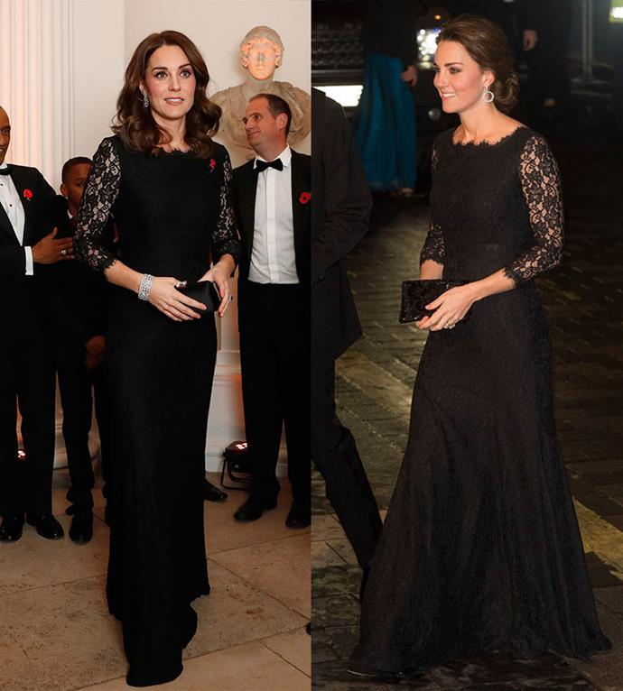 Kate Middleton at a Gala Dinner in 2017, and at The Royal Variety Performance in 2014.