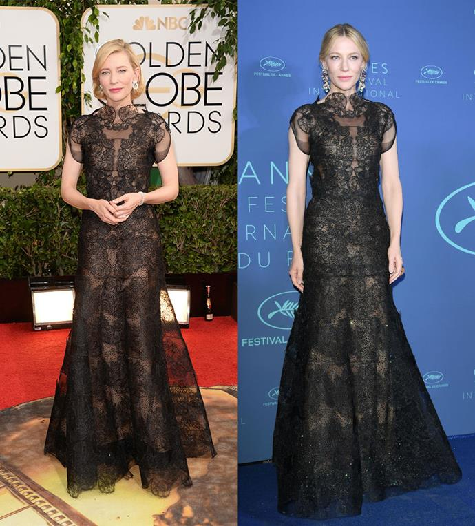 Cate Blanchett at the Golden Globes in 2014, and at Cannes in 2018.