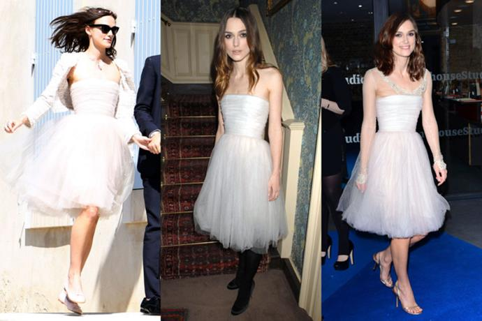 Keira Knightley recycled her wedding dress, attaching sleeves to it and wearing it on multiple occasions.