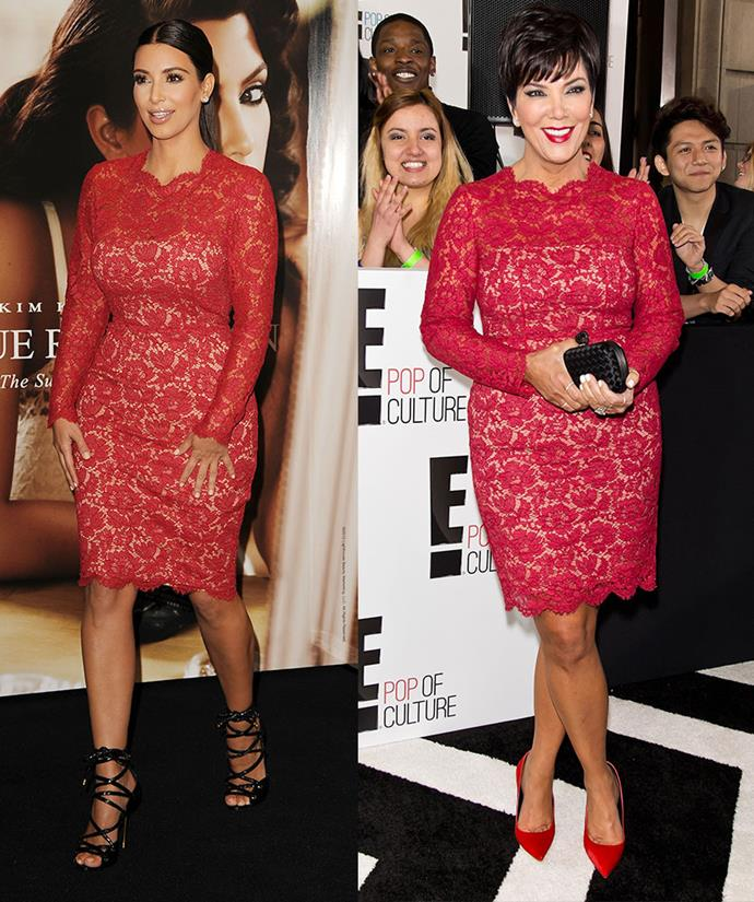 Kim Kardashian at a fragrance launch in 2012 and Kris Jenner on an *E!* Red Carpet in 2013.