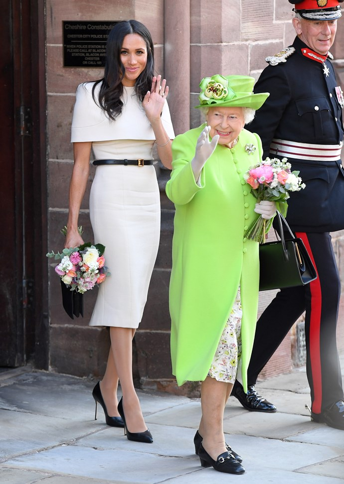 The Duchess of Sussex in custom Givenchy and Queen Elizabeth II in Stuart Parvin