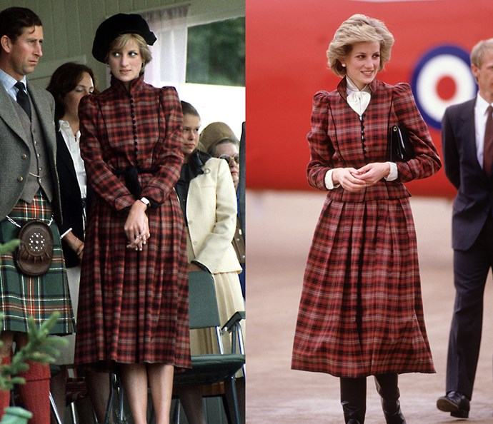 ***The tartan coat***<br><br> In 1981, newly married Diana wore this tartan Caroline Charles coat in Scotland with a black beret. In 1985, she unbuttoned it, added a white blouse and leather boots for a more casual look.