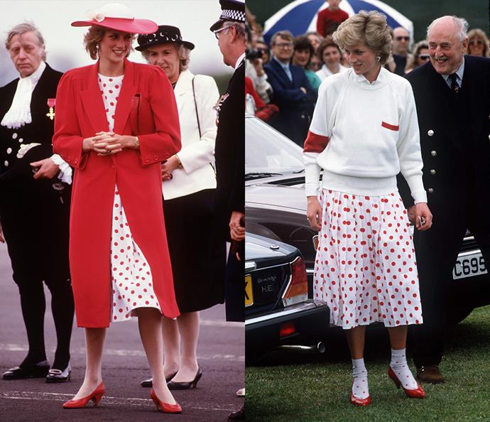 ***The polka-dot dress***<br><br> For this Mondi dress' first appearance in 1985, Diana went formal with a matching red coat, pumps and hat. For a more relaxed version in 1986, she wore it with an oversized jumper, polka-dotted socks and a shirt underneath.