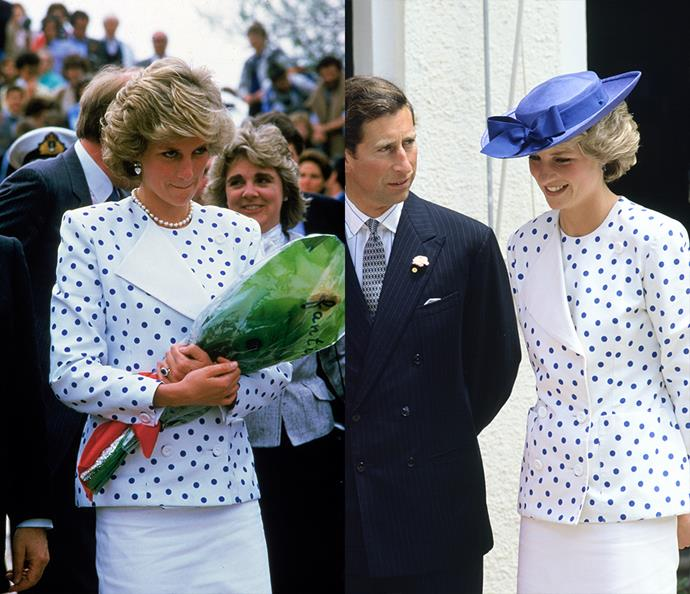 ***The blue spotted jacket***<br><br> Wearing this structural jacket twice in three months in 1985, Diana switched it up by adding a hat and a longer skirt.