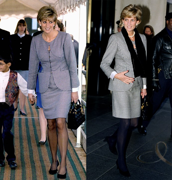 ***The check skirt suit***<br><br> Diana wore this black and white check suit twice in as many months in 1995. The second time 'round, she added a black scarf and tights. On both occasions, she carried a black Dior handbag.