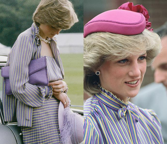 ***The purple-striped suit***<br><br> Prior to her wedding in 1981, Lady Diana was spotted wearing this David Neil suit after the Ascot races. At the time, she wore it unbuttoned and loose. For its second appearance in 1983, Diana buttoned it up, added a matching necktie and fuchsia hat.