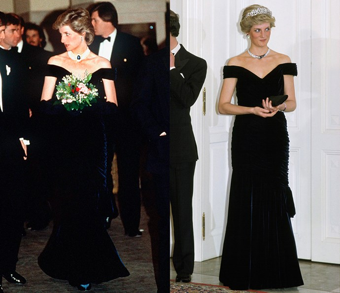 ***The blue off-the-shoulder gown***<br><br> This Victor Edelstein gown (which was actually deep midnight blue, not black) had two lives: once in 1986, worn with black opera gloves and her favourite pearl and sapphire choker; and the second in 1987, with the Spencer tiara and a diamond necklace.