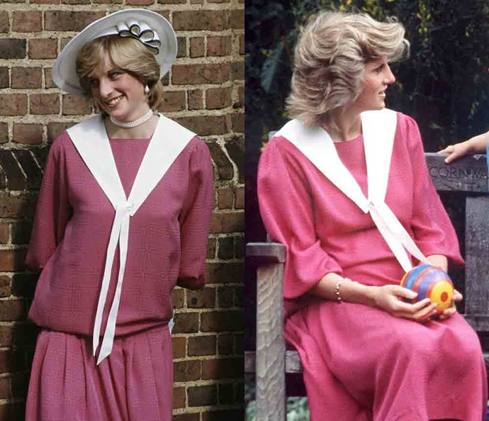 ***The pink dress with white scarf***<br><br> Proving that the accessories make the outfit, Diana wore this pink dress with a hat and heels to a society wedding in 1982, and then again as a house dress to play with her son in 1984.
