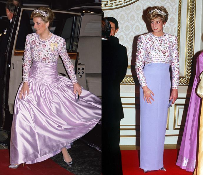 ***The purple gown***<br><br> This Catherine Walker gown got a second life after its first 1989 outing, with the designer removing the skirt and replacing the full silhouette with a column.