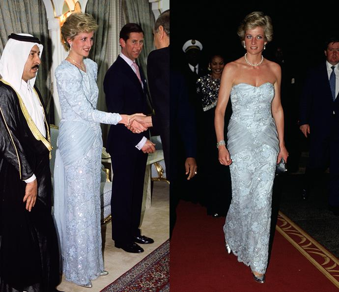***The baby blue lace dress***<br><br> After wearing it to a diplomatic reception in Qatar in 1986, Diana had designer Catherine Walker remake this baby blue dress into a strapless version for a visit to Cameroon in 1990.