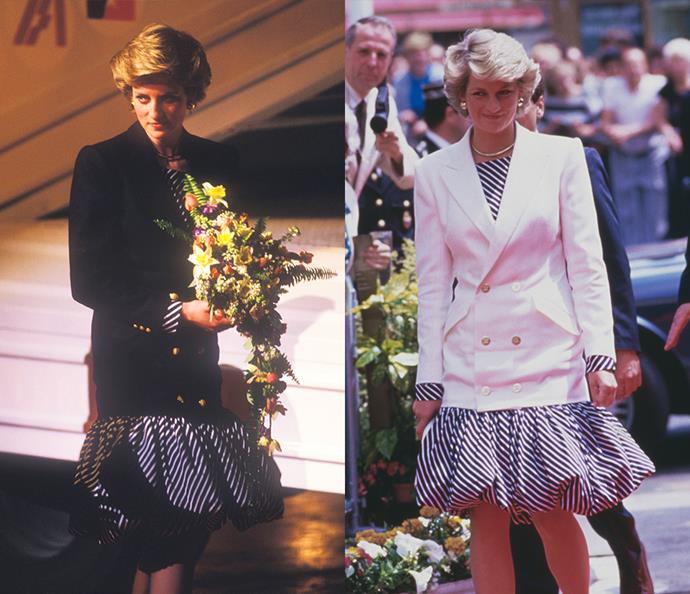 ***The puff-skirt and blazer***<br><br> Worn first in February, 1987, this Catherine Walker skirt and blazer combo embraced the '80s heavily. When Diana wore it again in May of the same year at the Cannes Film Festival, she replaced the black blazer with a white one.