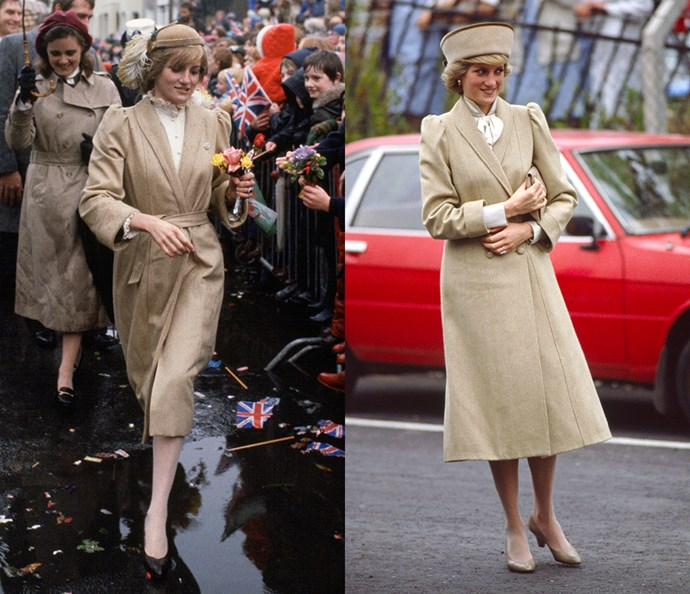 ***The tan coat***<br><br> In between this tan coat's two appearances—in 1981 and 1985—Diana had the designer change its belted waist to a double-breasted button closure.