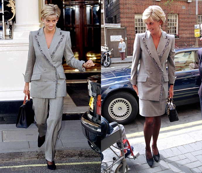 ***The grey suit***<br><br> Diana wore this particular grey suit twice in the space of two months whilst in London in 1997. The first time was with a pair of tailored pants, and the second was with a matching skirt.