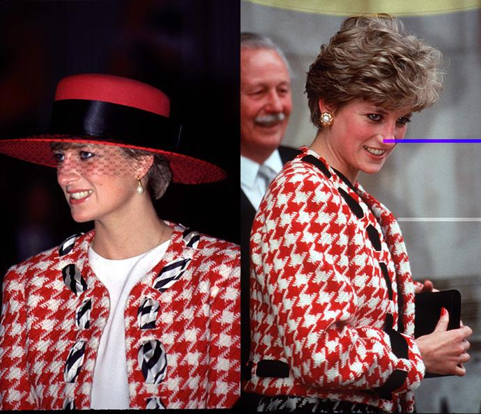 ***The red houndstooth jacket***<br><br> Attending an event in Canada in 1991, Diana wore this red houndstooth suit by Moschino with a wide-brim red hat and veil. For its second outing in 1992, Diana changed out the black-and-white ribbon for a black one and lost the hat.