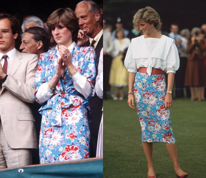 ***The blue floral suit***<br><br> Just months before her wedding in 1981, Diana was pictured at Wimbledon wearing this belted blue floral suit. Later in 1985, she wore the skirt with a sailor-blouse and red flats to a polo match in Circencester.