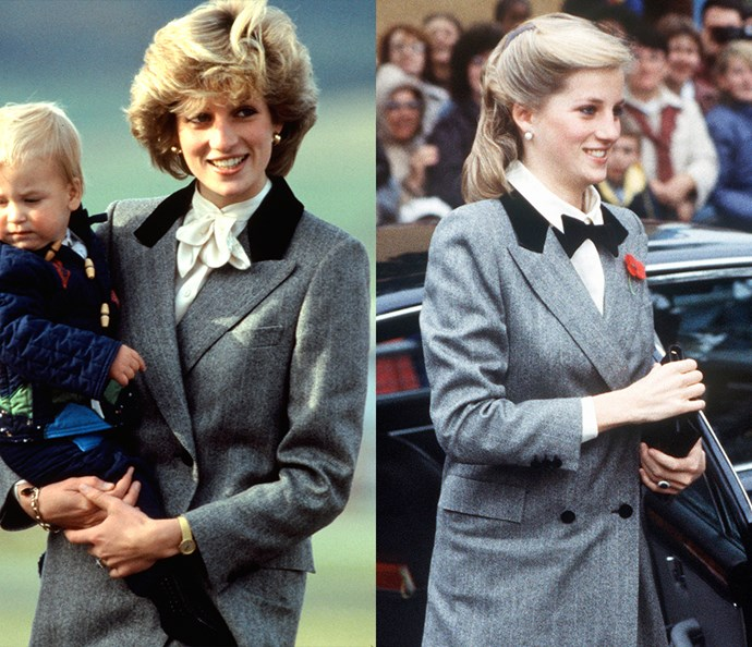 ***The grey coat with black velvet lapels***<br><br> Diana first wore this herringbone coat in 1983 in Scotland with a white silk pussy-bow blouse. The coat then resurfaced in 1984, this time worn with a white shirt and bowtie—and Diana's brief foray into long hair.