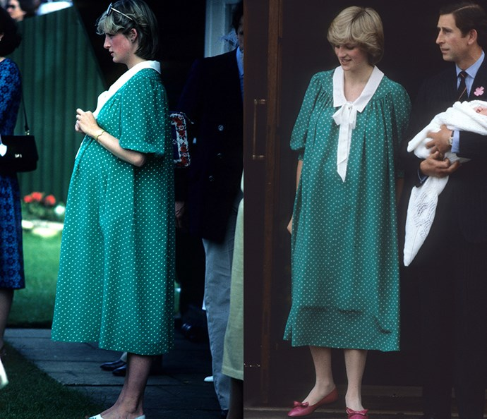 ***The green maternity gown***<br><br> This green maternity gown became famous when Diana wore it on the steps of the Lindo Wing to present newborn Prince William to the world. But the truth was, it was actually one of her go-to looks during her pregnancy. For the second reveal, she did it up with red flats and a blow-out.