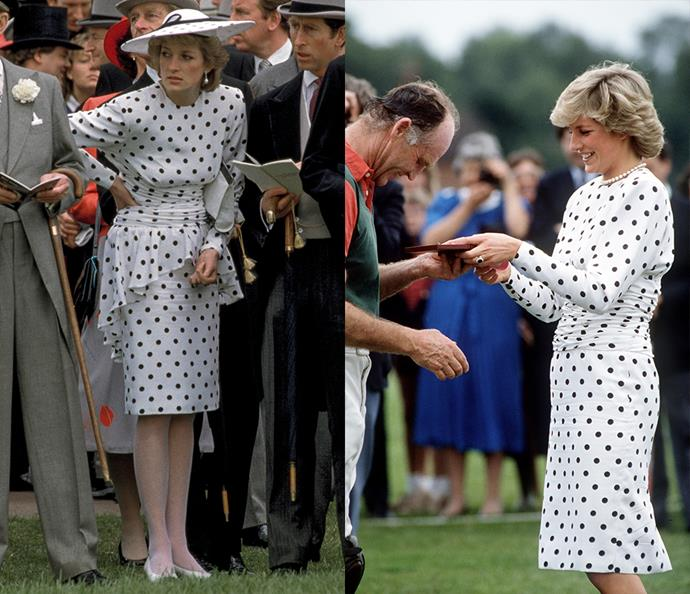 ***The white polka-dotted dress***<br><br> When this Victor Edelstein polka-dotted dress first appeared in 1986, Diana wore it with a white hat, stockings and white shoes. For a second appearance in 1987, the princess had it altered to remove the peplum around the waist—this time she wore it with bare legs and a pearl necklace.