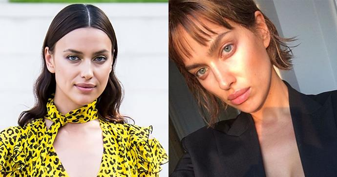 **Irina Shayk** <br><br> The model recently revealed her most dramatic chop on Instagram, documenting her hair transformation from long tousled locks to a chic, textured bob and wispy fringe.