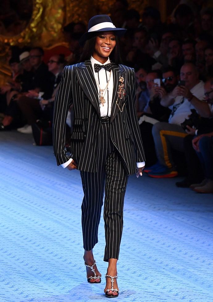 Naomi Campbell in Dolce & Gabbana Menswear Spring/Summer '19
