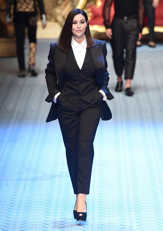 Monica Bellucci in Dolce & Gabbana Menswear Spring/Summer '19