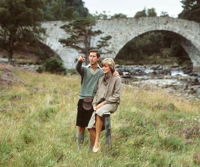 Diana & Charles visiting Balmoral in 1981.