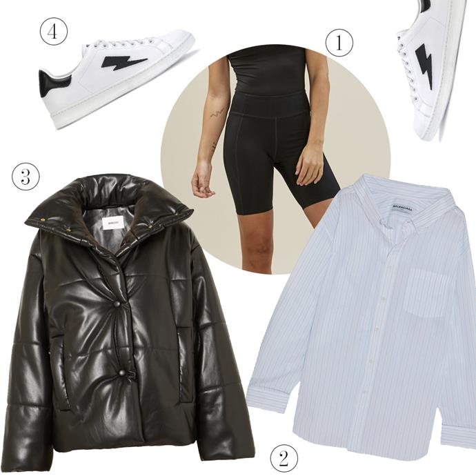 "1, Bike short, $65, [Girlfriend](https://www.girlfriend.com/products/black-mid-rise-bike-short|target=""_blank""