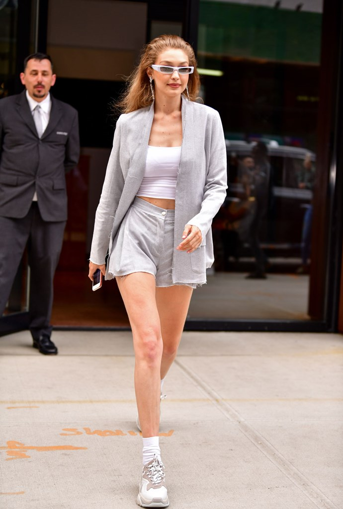 """**Pfeiffer** <br><Br> Gigi Hadid wears shorts suit by Sydney-based label Pfeiffer, while out in New York.  <br><Br> Both the shorts and the blazer are available for [pre-order now](https://pfeifferthelabel.com/collections/new-arrivals/products/barbero-belted-blazer