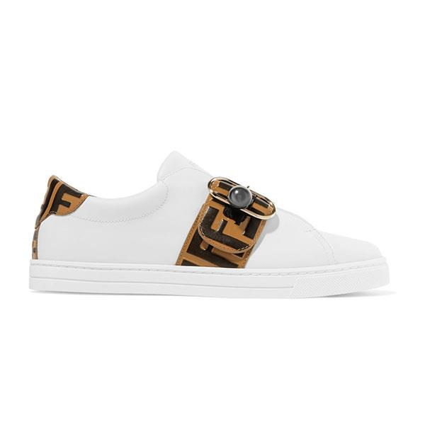 "Sneakers by Fendi, $990 at [Net-a-Porter](https://www.net-a-porter.com/au/en/product/1049360/fendi/logo-embossed-leather-sneakers|target=""_blank""