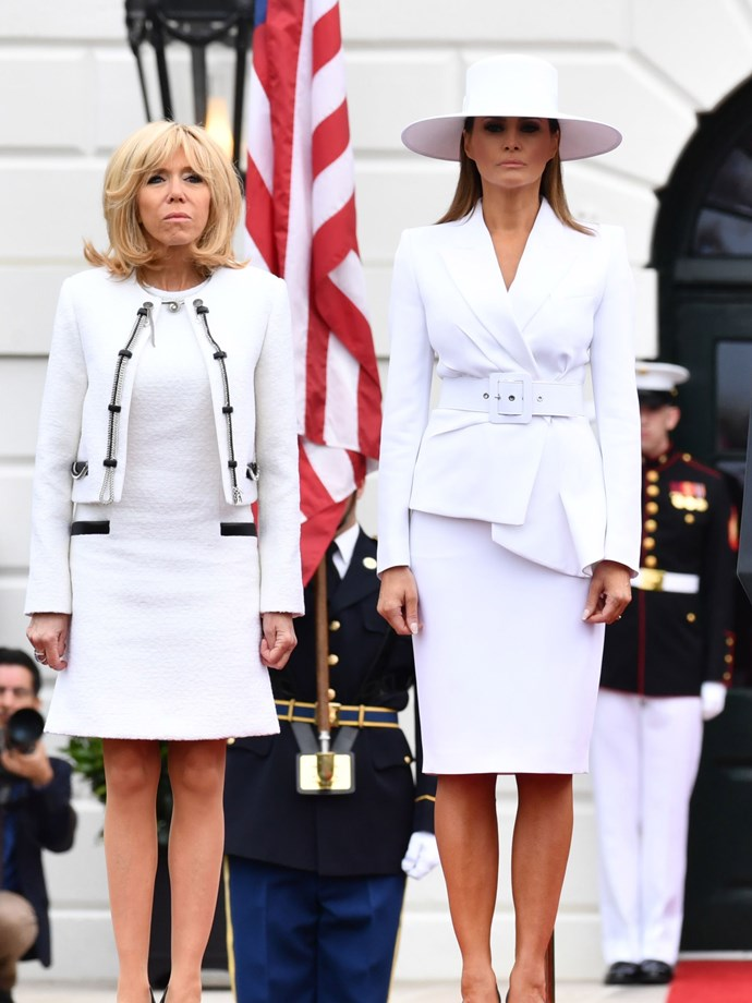 """**SIXTH MOST CONTROVERSIAL: APRIL 2018** <br><br> Melania wore a Michael Kors Collection suit during the second day of President Macron's state visit, but it was her Hervé Pierre hat that had the world talking.  <br><br> Some saw Michelle Pfeiffer in *Scarface*, others saw Beyoncé in the ['Formation' music video](https://twitter.com/Mtntop_Climber/status/988777889381404672?ref_src=twsrc%5Etfw&ref_url=https%3A%2F%2Fwww.nytimes.com%2F2018%2F04%2F24%2Fstyle%2Fmelania-trump-white-hat.html
