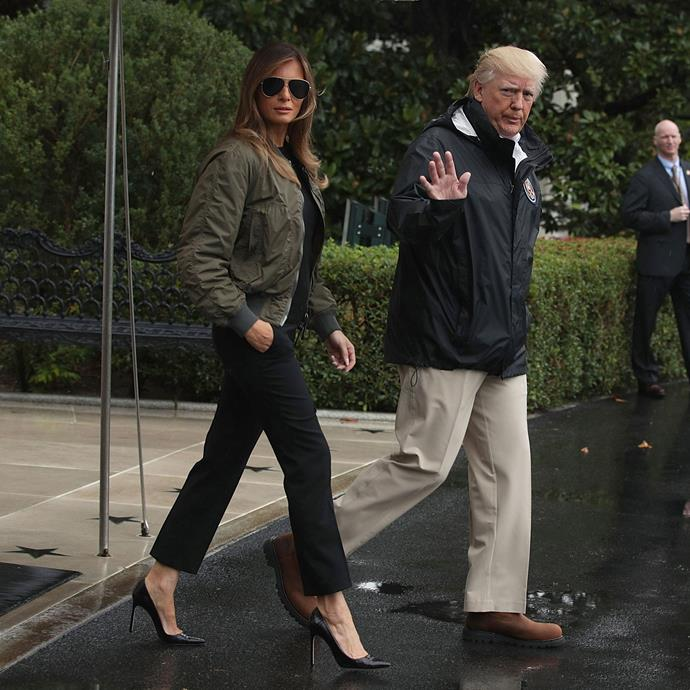 **SECOND MOST CONTROVERSIAL: SEPTEMBER 2017** <br><br> Leaving the White House to visit Hurricane Harvey victims in Puerto Rico in 2017, the First Lady was universally panned for her shoe choice.  <br><br> Though she changed into a different outfit on the plane, wearing Manolo Blahnik pumps to a disaster zone was met with condemnation from both Republicans & Democrats alike.