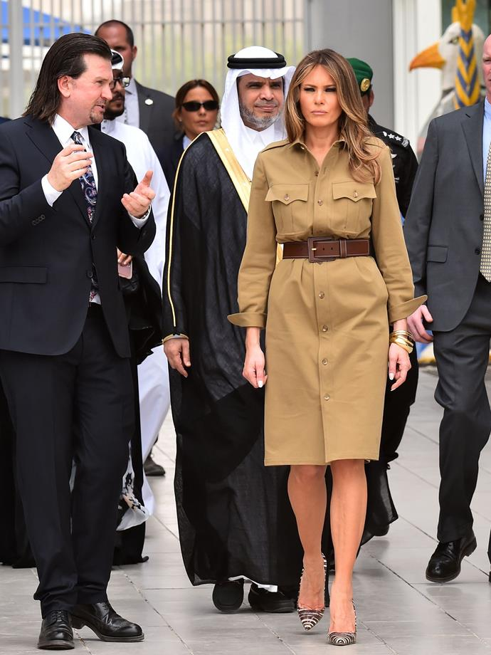 """**FIFTH MOST CONTROVERSIAL: MAY 2017** <br><br> While Michelle Obama was critiqued for [not wearing a headscarf](https://www.telegraph.co.uk/news/worldnews/michelle-obama/11373787/Michelle-Obama-causes-outrage-in-Saudi-Arabia-by-not-wearing-headscarf.html target=""""_blank"""") during her state visit to Saudi Arabia, Melania was scathed for showing her legs during a visit to the conservative Arabian nation in 2017."""