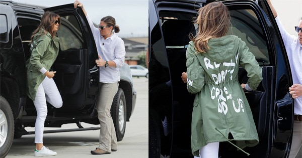 """**MOST CONTROVERSIAL: JUNE 2018** <br><br> In arguably the biggest fashion faux-pas in US political history, Ms. Trump deviated from her designer wardrobe to instead wear a Zara jacket reading """"I REALLY DON'T CARE, DO U?"""" when visiting forcefully separated families at the US/Mexico border. <br><br> In what was first thought to be an unfortunate style faux-pas, President Trump took to [Twitter](https://twitter.com/realDonaldTrump/status/1009916650622251009
