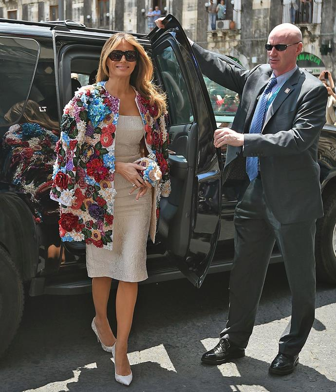 **THIRD MOST CONTROVERSIAL: MAY 2017** <br><br> During the 2017 G7 Summit in Sicily, Ms. Trump stepped out in a Dolce & Gabbana embroidered jacket worth $70,000—and unsurprisingly drew a barrage of controversy.