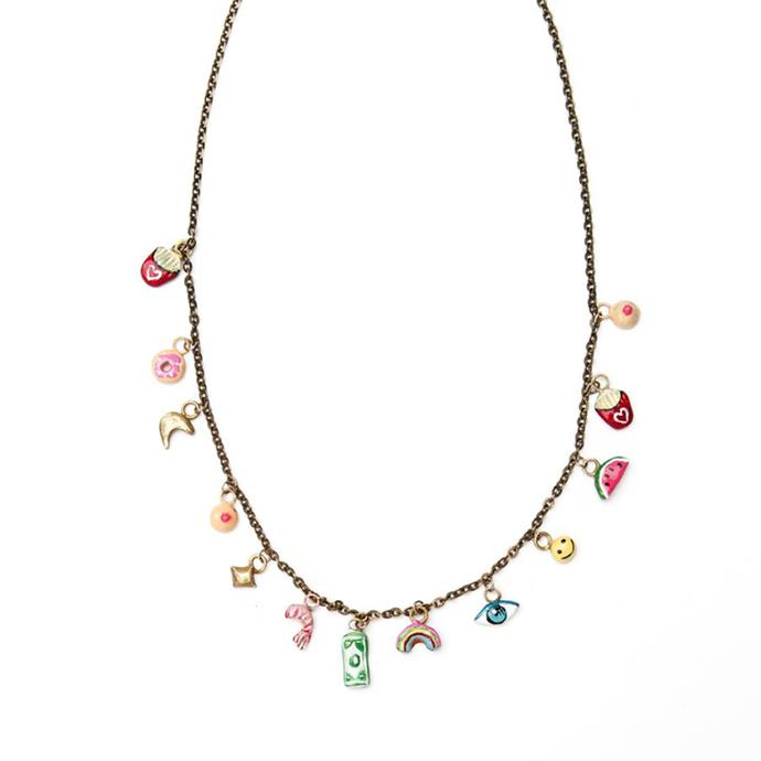 "**Samantha Wong, fashion assistant**  <br><br> A necklace that keeps all the things I love close to my heart (literally). Double loop around your wrist for a cute charm bracelet – voila! <br><br> Tiny Joys Necklace, $138.00, from [Susan Alexandra](http://www.susanalexandra.com/shop/fd2mv1cjgl9yzgxm33gg63mu90u4i4|target=""_blank""