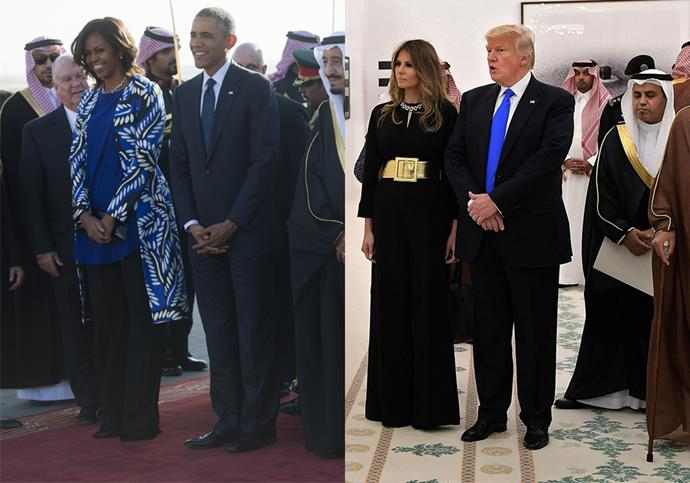 """**3. Be Considerate Of Different Cultural Expectations** <br><br> In 2017 Melania followed Michelle Obama's lead by refusing to wear a head scarf in her trip to Saudi Arabia, which many [dubbed 'naïve'](https://www.independent.co.uk/voices/melania-trump-ivanka-headscarf-hijab-saudi-arabia-western-wall-pope-cover-up-vatican-a7754811.html