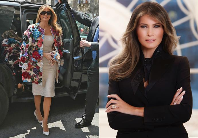 **2. Keep The Glitz And Glamour To A Minimum** <br><br> Eleanor Roosevelt's love of fur coats and glamorous gowns have nothing on Melania's extravagant wardrobe. The current First Lady exhibits a handful of particularly pricey pieces, including her 25 carat anniversary ring from Trump—estimated to cost over $4 million— in her official White House portrait, and the $70,000 Dolce & Gabbana coat she wore to the 2017 G7 Summit in Sicily. Her predecessor, Michelle Obama, wore a mix of designer and high street brands, showing her focus on accessibility and approach-ability.