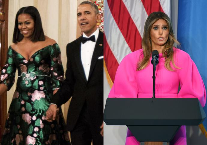 **5. Avoid Outfits That Are Too Bright Or Loud** <br><br> Melania's neon pink Delpozo dress detracted from her speech to the United Nations, prompting it to become a faux pas. Michelle Obama experienced a similar reaction in 2016 for wearing a brightly printed Gucci gown to Kennedy Centre's annual Honours Gala, likened to a Christmas tree by the public.