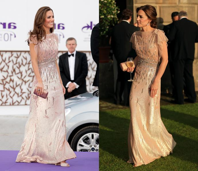 ***Jenny Packham gown***<br> This pink-champagne gown by Jenny Packham also rotates frequently.