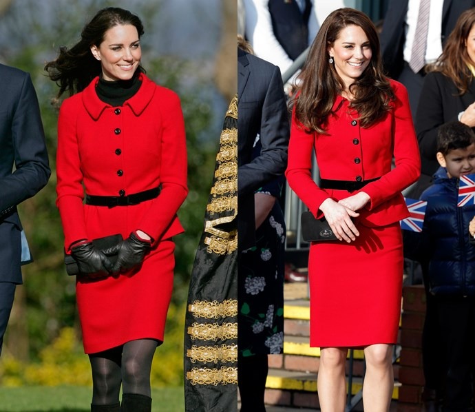 ***Red Spagnoli suit***<br> Kate loves this suit so much, she actually owns two—one with longer sleeves and one with shorter.
