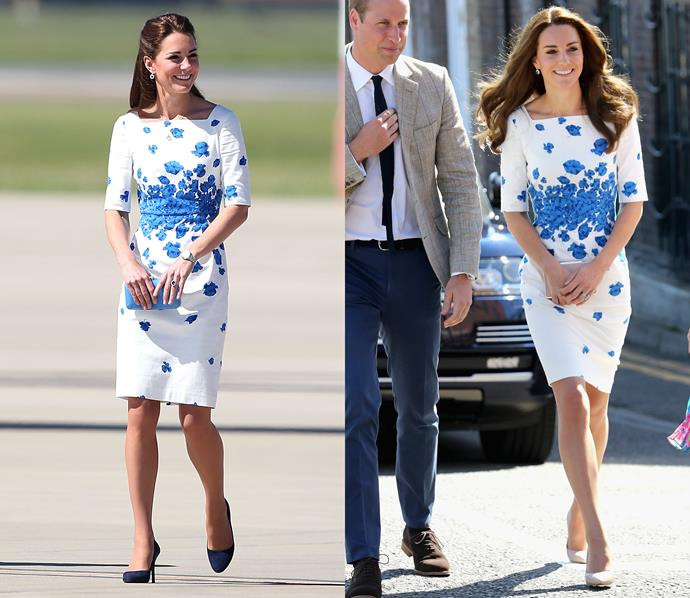 ***LK Bennett dress***<br> This blue-and-white LK Bennett dress was spotted in 2014 and in 2016.