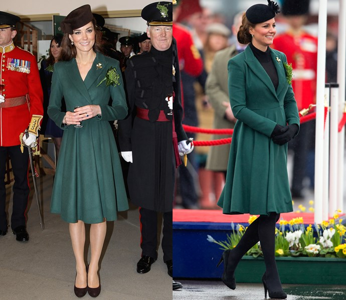 ***Green Emilia Wickstead coat***<br> What did we tell you about Kate and her green St Patrick's Day coats? She wore this one in both 2012 and 2013.