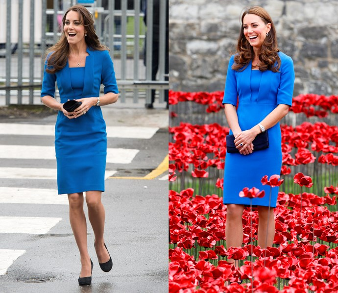 ***Royal blue LK Bennett dress***<br> Kate has worn this blue day dress from LK Bennett at least three times since 2012.