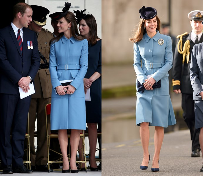 ***Blue Alexander McQueen coat***<br> The main difference between the two outings of his McQueen coat is that coloassal RAF brooch.